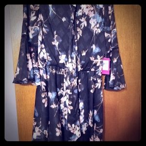 Vince camuto size 12 black floral dress new nwt